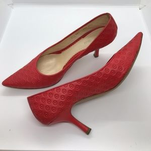 Giorgio Armani, coral orange pump, size 7
